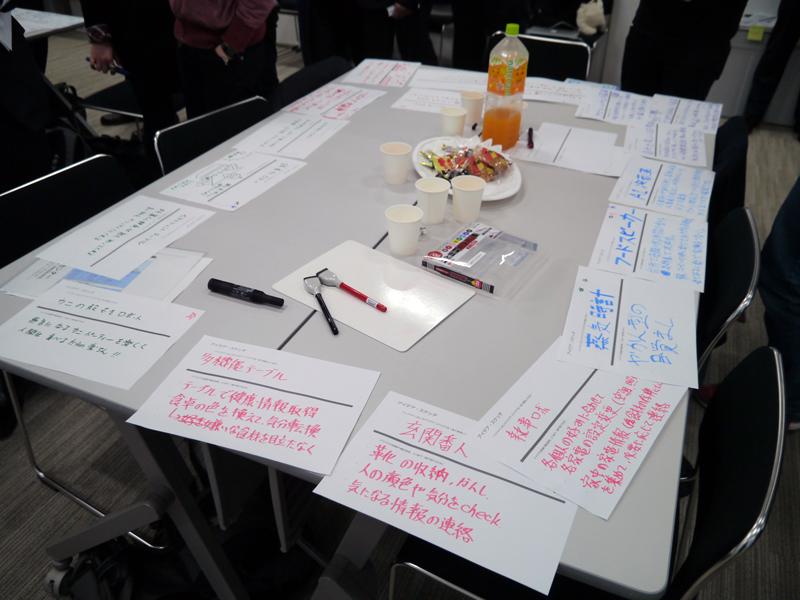 参加者のアイデアが机の上に並べられ、いいものに星印をつける