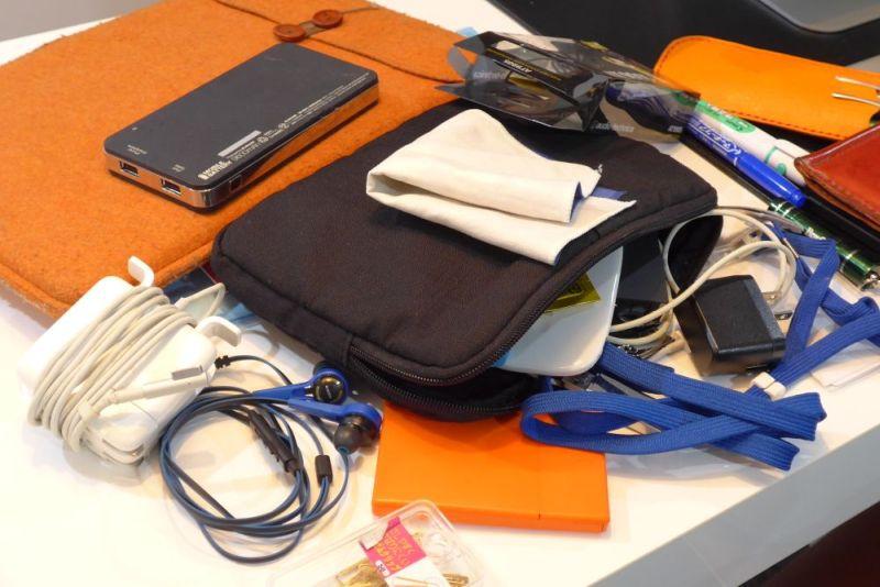 バッグには、パソコンやカメラをはじめ、パソコン用の電源ケーブルやUSBケーブル、イヤホン、マイク、紙資料などが放り込んである