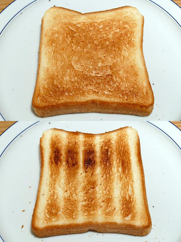 美味しいトーストが焼けた。上ヒーター側は焼き色のムラが少ない(上)。下側は網の跡、多少ムラがついたが美味しいトーストに変わりない