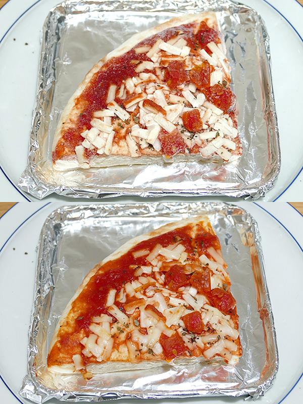 トレイには市販の1/4カットの冷凍ピザが余裕で置けた(上)。約8分で香ばしく焼きあがった