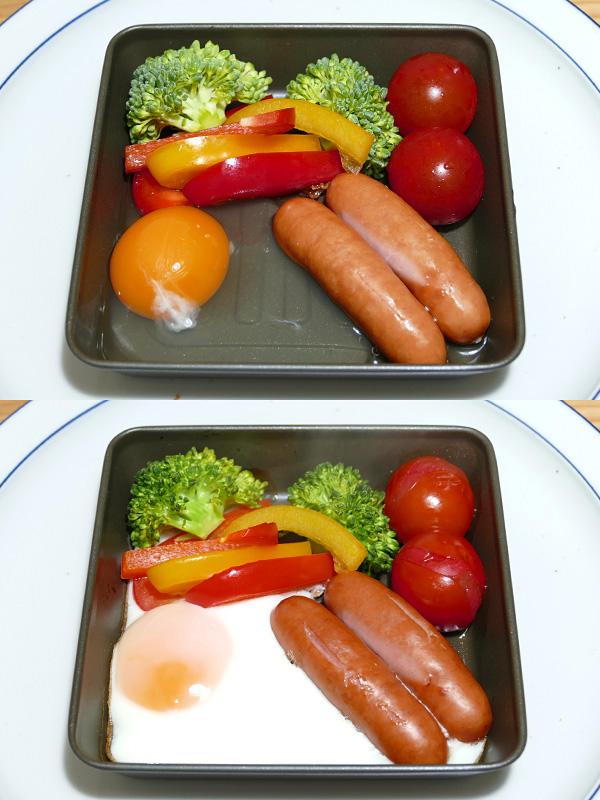 野菜やソーセージを添えた、ワンプレートの目玉焼きを作った(上)。10分程で食材にしっかり火が通り美味しい。放っておいても一度に調理できて便利だ