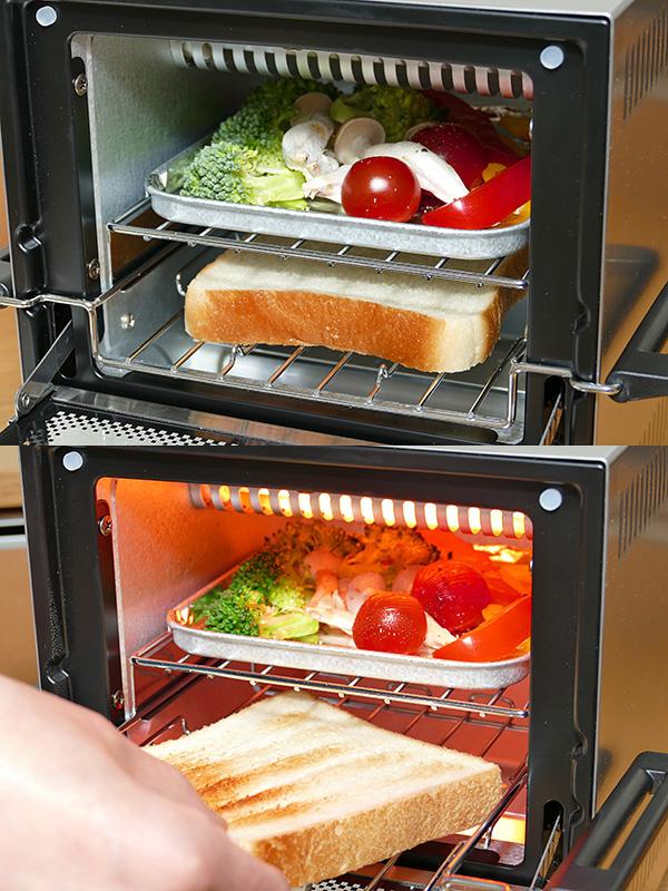 2つのラック、トレイを使って同時に野菜を焼きながらパンを焼いた。パンの両面に焦げ目を付けたい場合は、途中でひっくり返さなければならない(下)