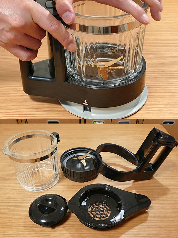 「容器締め付け台」の底にはすべり止めがあり、ガラス容器を押さえつけるように回せば簡単に容器セットの組み立て、取り付けができた(画像上)。容器セットは全てバラバラになるので、細かな部分まで洗いやすい
