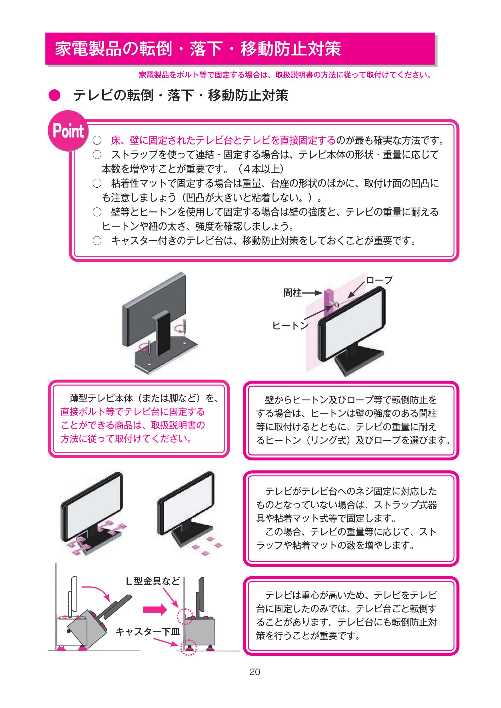 家電に対する転倒防止策を解説しているページ