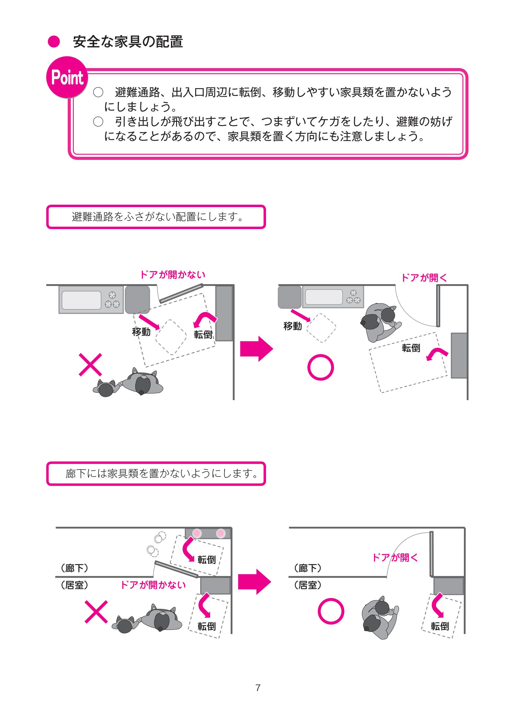 家具の安全な置き方を解説したページ