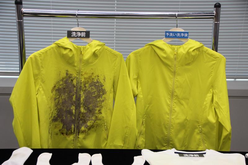 予洗いコースでは、洗剤なしでもドロ汚れを約5分でキレイに落とす