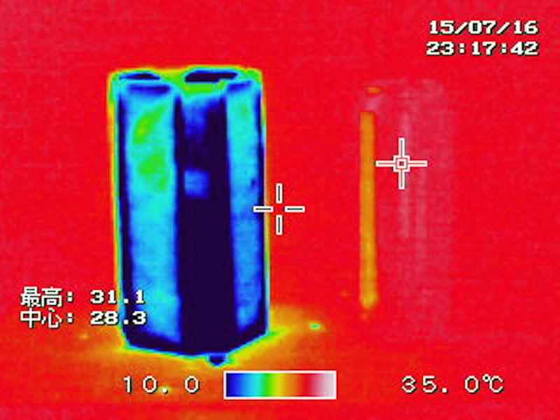 「ラピッドアイス」を巻いているときの温度の違いをサーモグラフィーでチェック