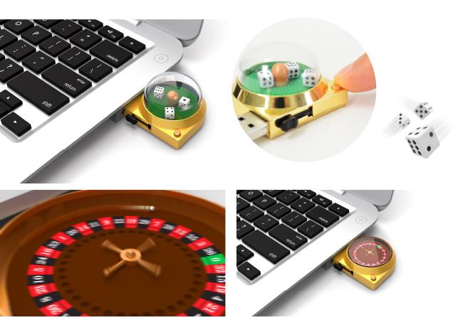 パソコンのUSBポートに本体を挿し、ボタンを押すと、ゲームが始まる
