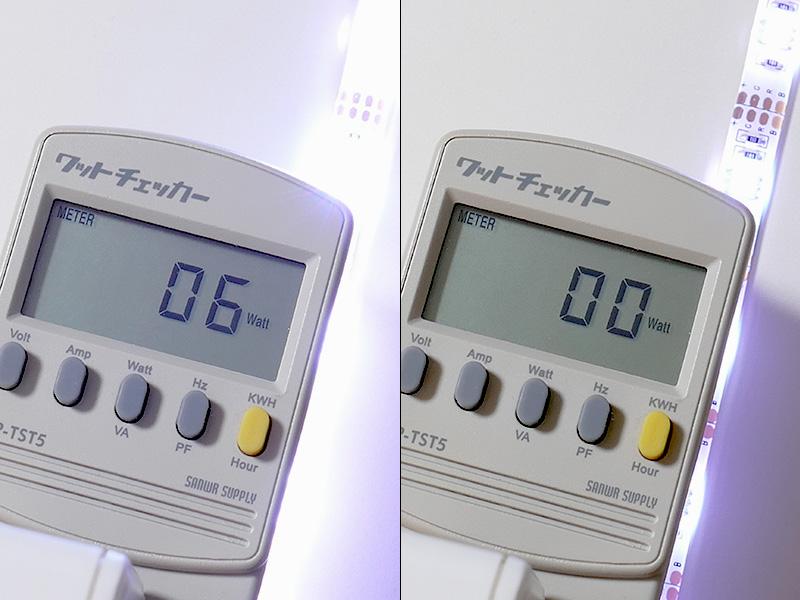 最大時(光色1)の消費電力は6Wだった。明るさを最小にすると測定不能の0Wだった