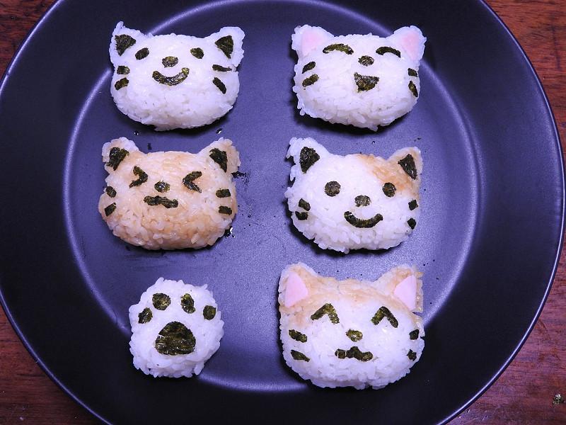 色々なネコを作ってみた。かわいい! 子供達も「食べるのがかわいそう」というほど