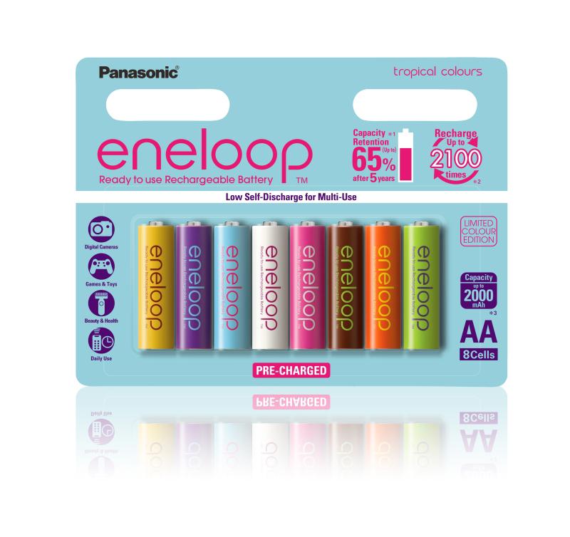 海外専用デザインとして発売された「eneloop tropical colours」のブリスタパッケージ版