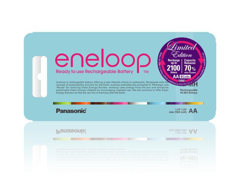 こちらは、「eneloop tropical colours」のPET素材パッケージ。欧州市場向けに用意された