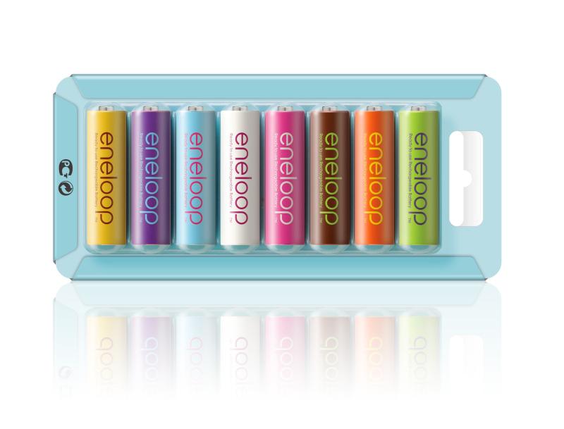 欧州市場向けに発売した「eneloop tropical colours」のPET素材パッケージの裏面
