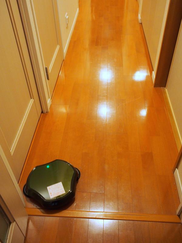 幅の狭い廊下で走らせてみた。かれこれ5日間は掃除していないため、ゴミだらけだ