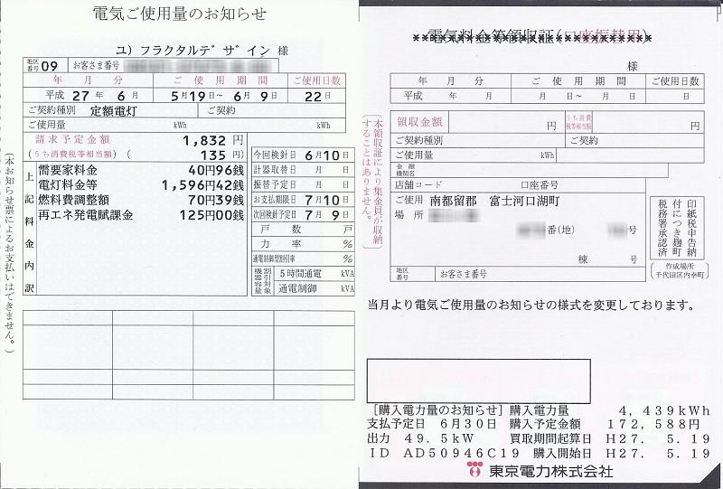 検針結果。購入電力量は右下に記されている