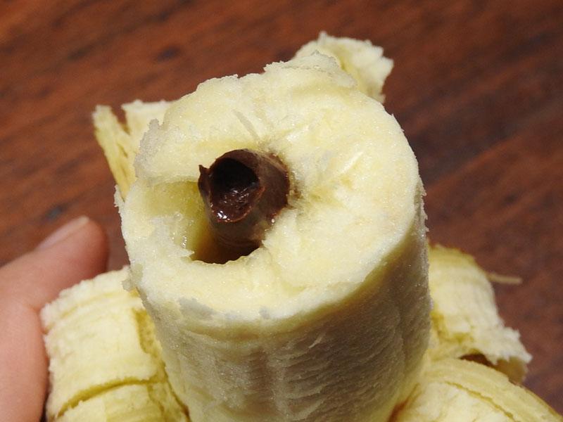 バナナの中は、こんなにチョコたっぷり