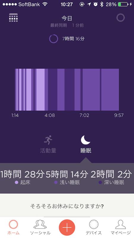 睡眠時間と睡眠の質(浅い/深い)が確認できる