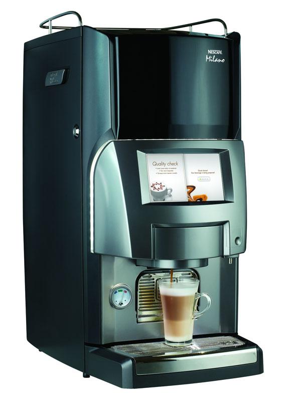 外食店向けの業務用コーヒーマシン「ネスカフェ ミラノ」と組み合わせて使う