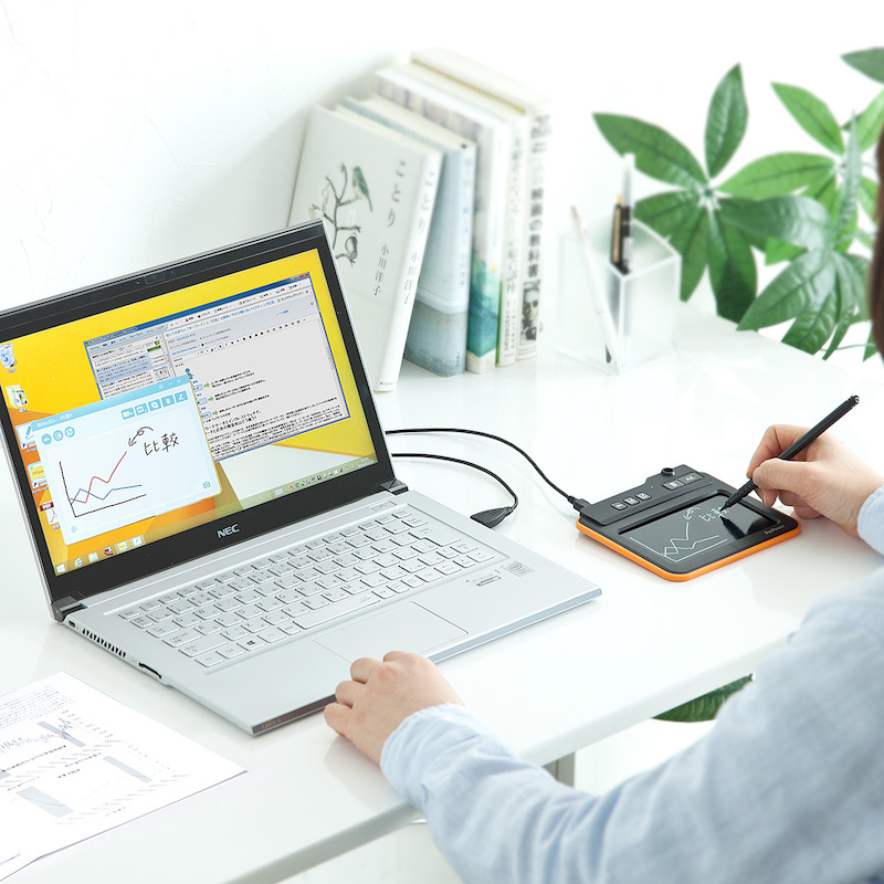 パソコンと連動させれば、手書きパッドとして活用できる