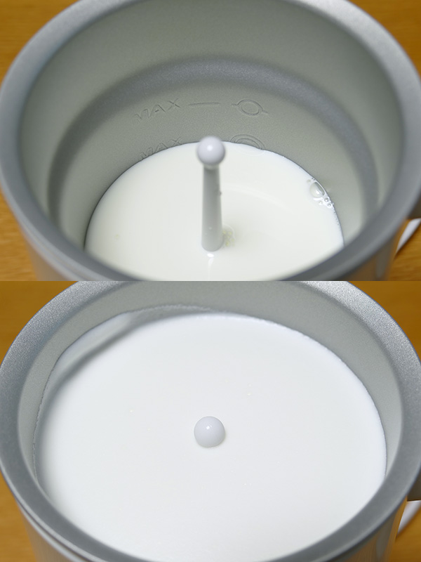 約170ccのミルクが、2分41秒でフタすれすれまでのフォームドミルクになった