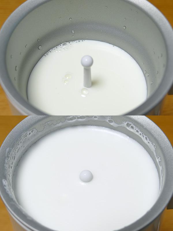 最大量250ccのミルクでも、フタをしていれば溢れずにフォームドミルクができた。かかった時間は3分50秒