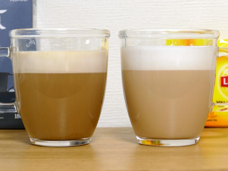 170ccのミルクだけで、コーヒーと紅茶のカプチーノがマグカップ2杯分できた。どちらもとても美味しい
