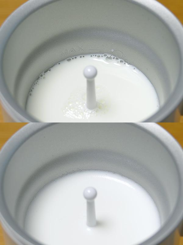 約200ccの冷たいミルクが、3分半で口当たりの柔らかい70℃のホットミルクになった。ミルクに空気が含まれるので少し量が増える