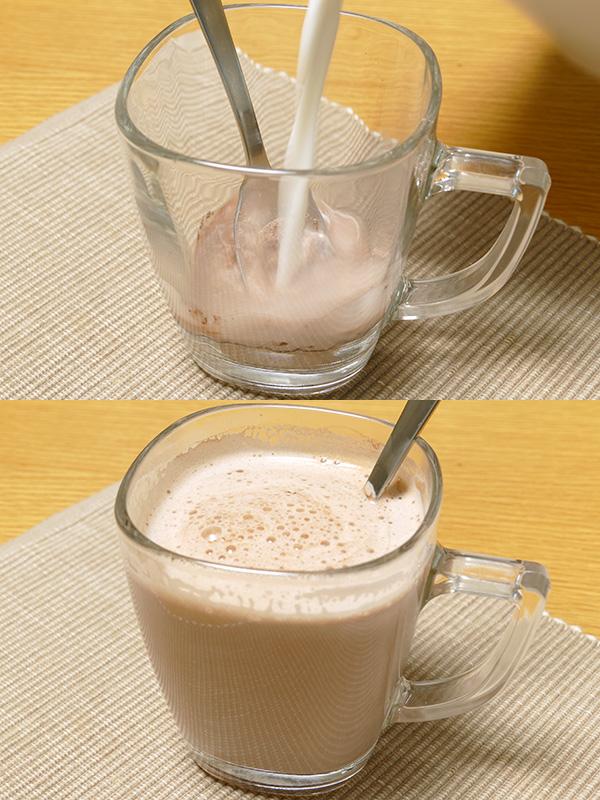 ミルクフローサー プロで作ったホットミルクは、まろやかな口当たりで滑らか。鍋で沸かしたものよりも断然美味しい。自宅で作ったミルクココアの中でも最高の出来だった