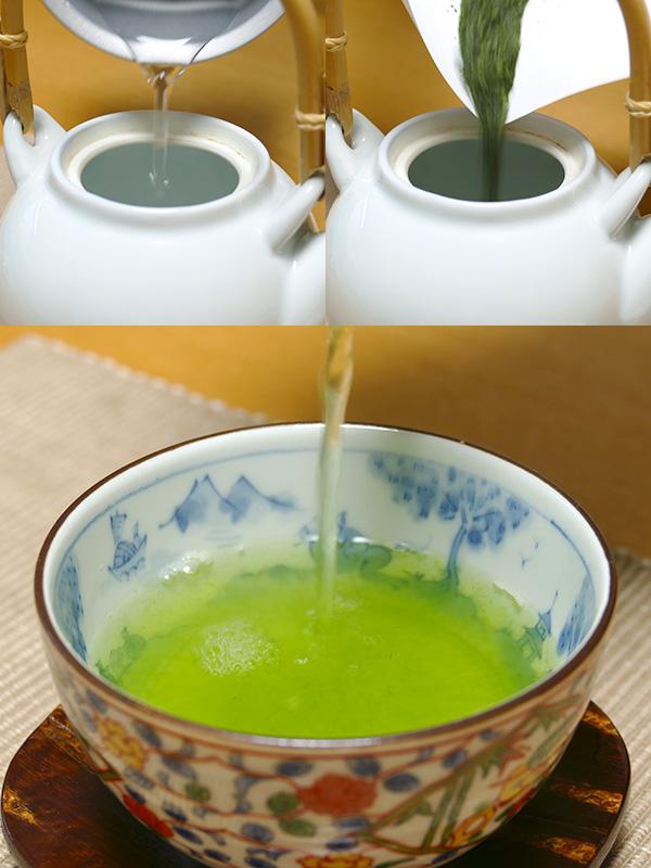 湯冷まし課程抜きで、美味しい玉露が楽しめた。急須にお湯を注いでから茶葉を入れ、2分待つだけ。簡単だ