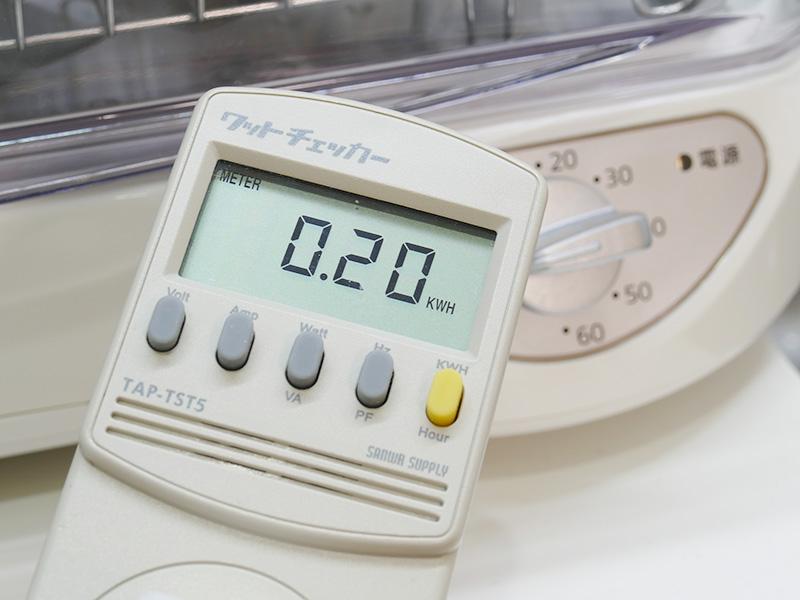 40分の運転の電気量は0.20kWh。1回の電気代は5円程度だ