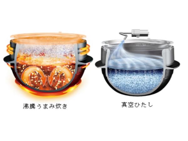 真空技術により、すばやい給水を実現した「真空ひたし」と、連続加熱、連続沸騰による「沸騰うまみ炊き」で、お米本来のおいしさをたっぷりと引き出す
