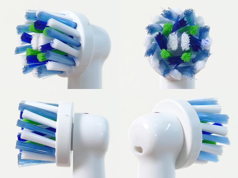 マルチアクションブラシは、オーラルBの最新型。ブラシが16度の角度で植毛されていて、歯間も歯ぐきのキワの歯垢もやさしく除去するという