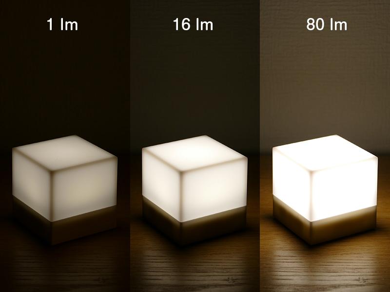 左から「ホワイト弱」、「ホワイト普通」、「ホワイト強」で点灯した様子。ほのかな明るさから、眩しさを感じるほどの明るさまで選択できる