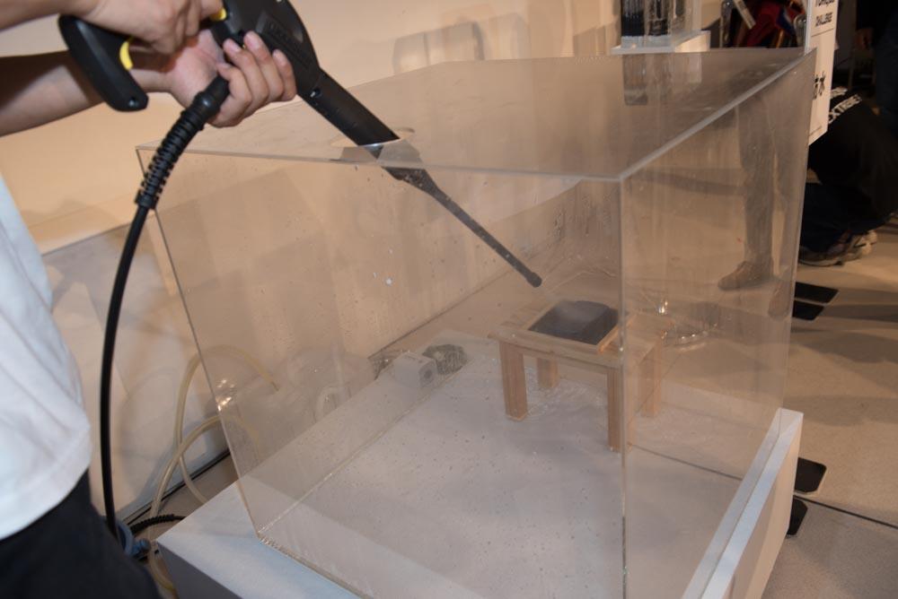 ケルヒャーの高圧洗浄機で耐水性をアピール