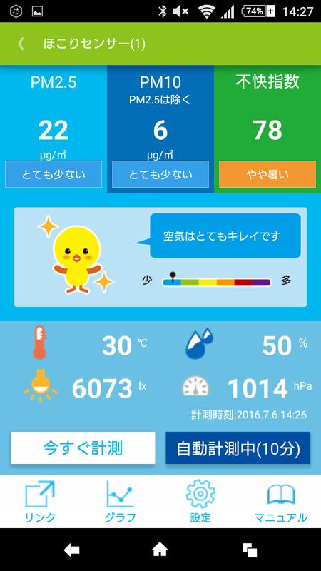 専用アプリでの計測結果画面。3mくらい離れた場所でタバコを吸うと、とたんに数値が跳ね上がった。
