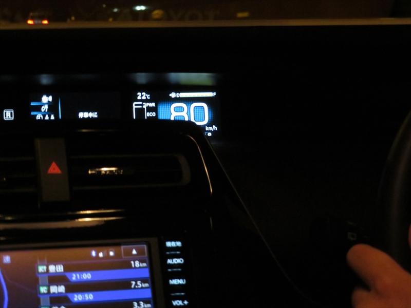 新型プリウスにはクルーズ機能がついており、80km/hでの巡行も楽ちん