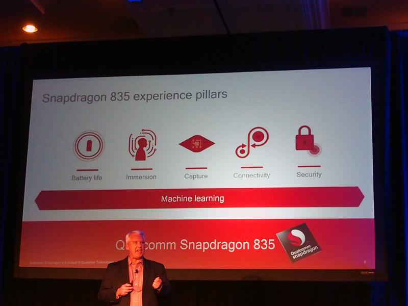記者会見では、5つの観点から「Snapdragon 835」の特徴が紹介された
