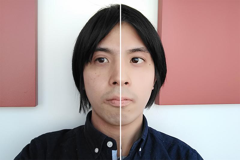 左半分がビューティーモードオフ、右半分はビューティーモードのレベル10