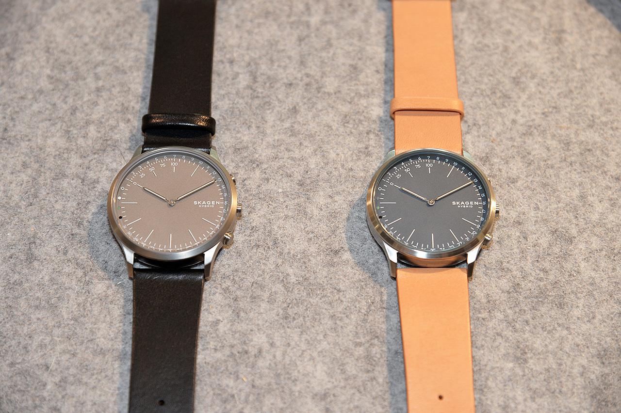 スカーゲンのハイブリッド型スマートウォッチ。こちらは二針タイプで、通知や活動量の表示は、時針や分針が動いて状態を表示する。