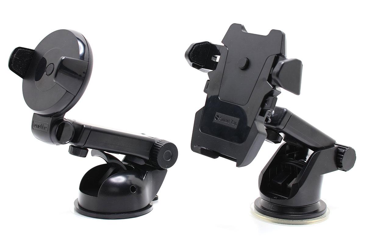 左は個人的に気に入っている「2関節アームタイプ」のクルマ用スマートフォンホルダーで、基本的には粘着吸盤でダッシュボード上に吸着させて使います。右はよりシンプルでコンパクトなタイプです。