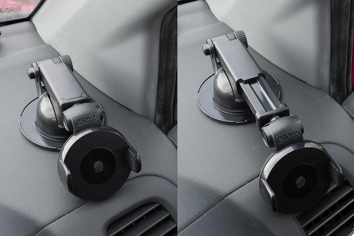 車内に取り付けた様子。伸縮アームは、伸ばした位置でネジによりシッカリと固定できます。ホルダー部はギアで自由に回転し、端末を斜め向きにすることも可能。ホルダー部の関節により、端末向きの微調整もできます。