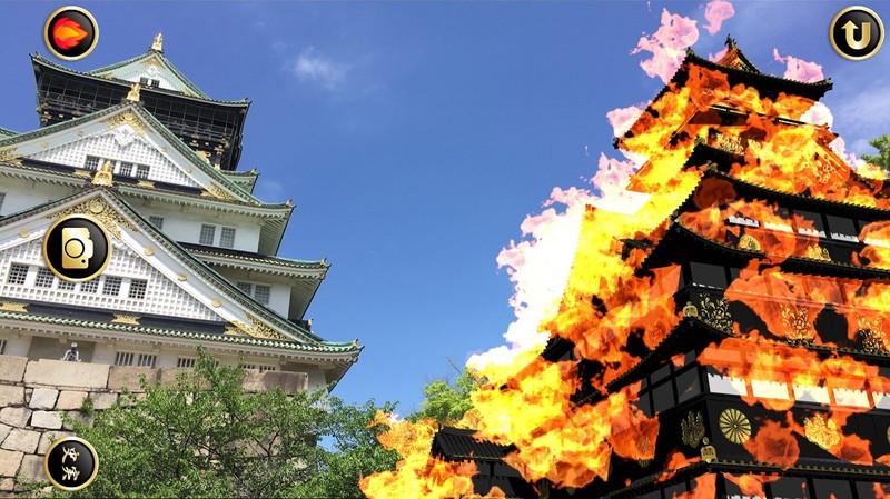 現実の大阪城の隣に漆黒の大坂城を再現