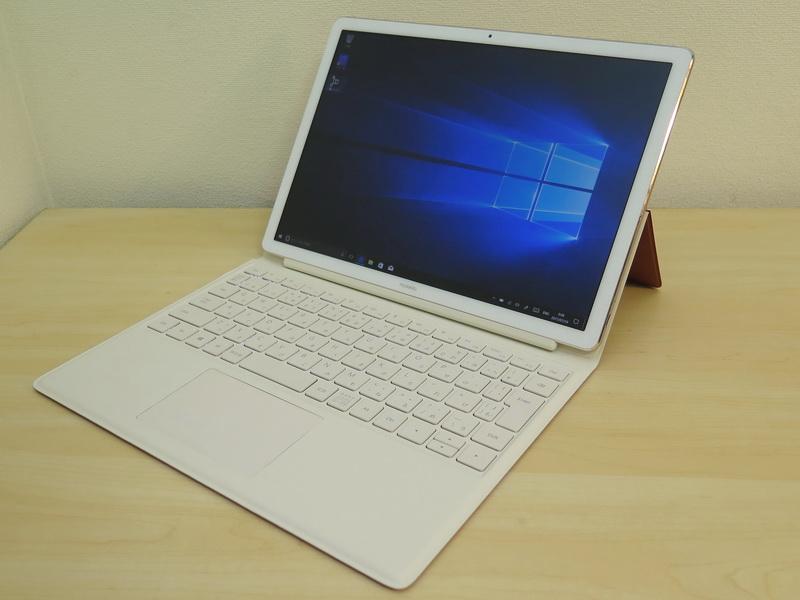 ファーウェイ HUAWEI MateBook E(9万2800円~)<br>サイズ:約278.8(W)×194.1(D)×6.9(H)mm<br>重量:約640g(本体のみ)、1100g(本体+キーボードカバー)<br>CPU:第7世代インテル Core i5/Core m3プロセッサー<br>メモリー:8GB/4GB<br>ストレージ:256/128GB、ワイヤレス:IEEE 802.11 a/b/g/n/ac、Bluetooth 4.1<br>カラー:シャンパンゴールド(写真)、チタニウムグレー