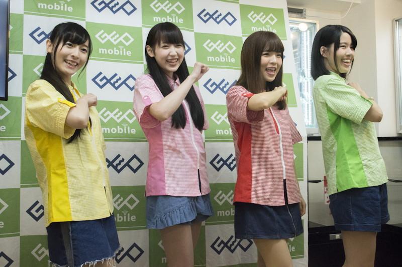 左から、日向空(黄)、江本もえ(ピンク)、咲良しおり(赤)、一ノ瀬葵(緑)。もう1人、青の泉羽めいが在籍する