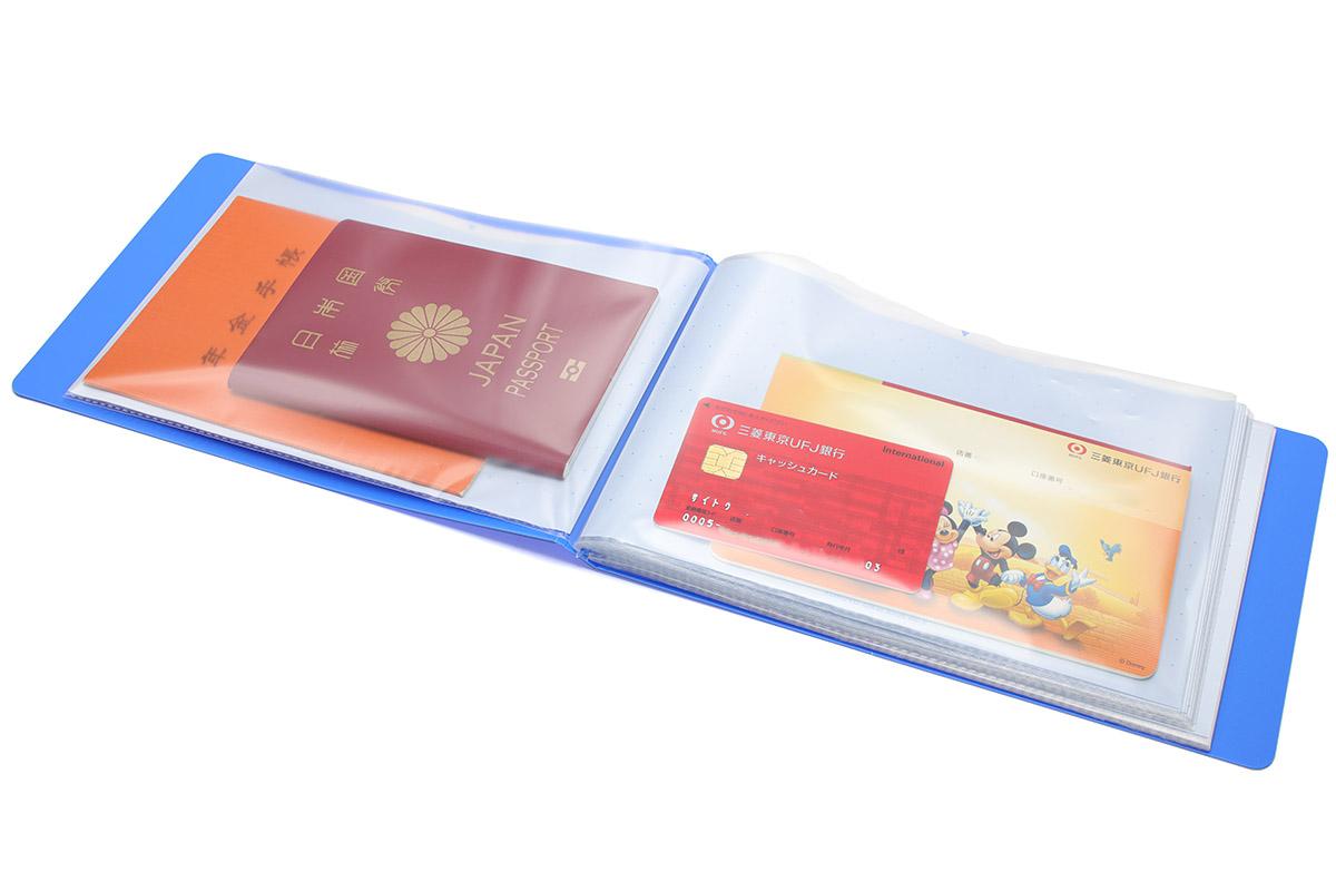 通帳やパスポートや年金手帳などは、B6サイズ書類が入るポケットタイプのファイルがまあまあちょうど良いサイズ。通帳とキャッシュカードはまとめて入れたりしています。これらファイルは、引き出しにもちょうど入りました。