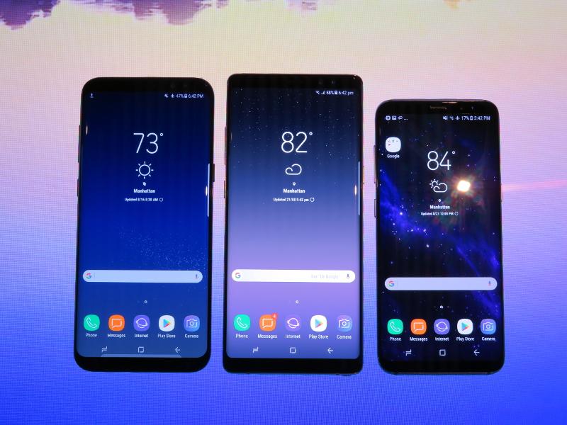 (左から)Galaxy S8+、Galaxy Note8、Galaxy S8