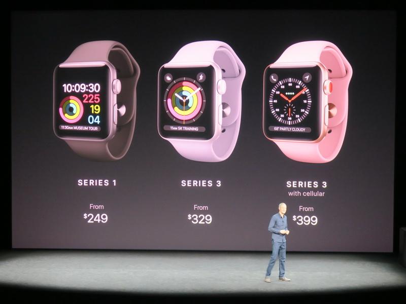 Apple Watch Series 3は329ドルから。Series 1も併売される。