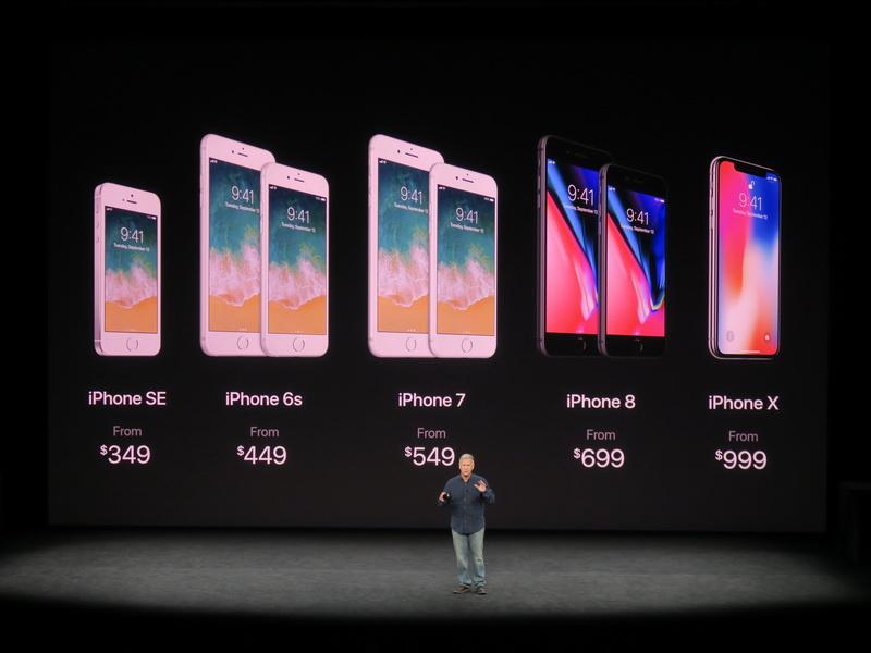 今回発表されたiPhone X、iPhone 8、iPhone 8 Plusに加え、従来のiPhone 7、iPhone 6s、iPhone SEがそれぞれ併売される
