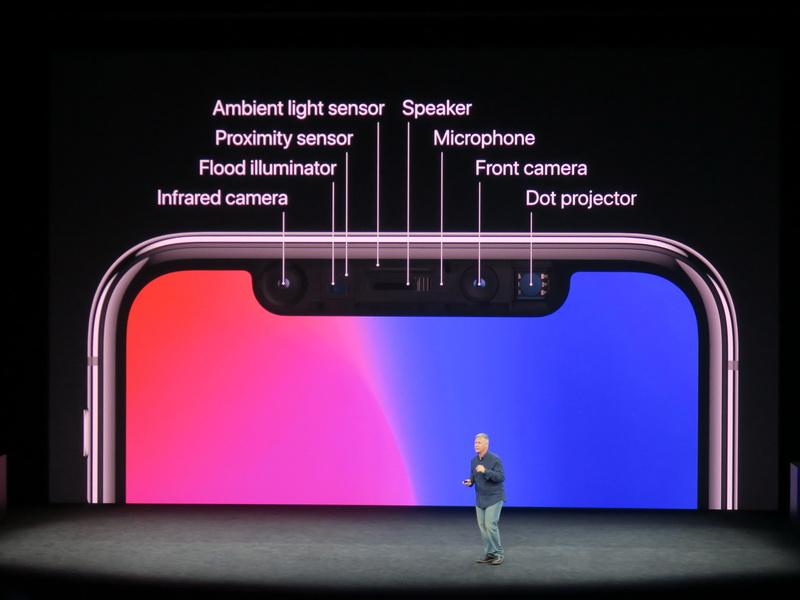 本体前面の上部にはさまざまなセンサーと共にTrueDepthカメラを搭載