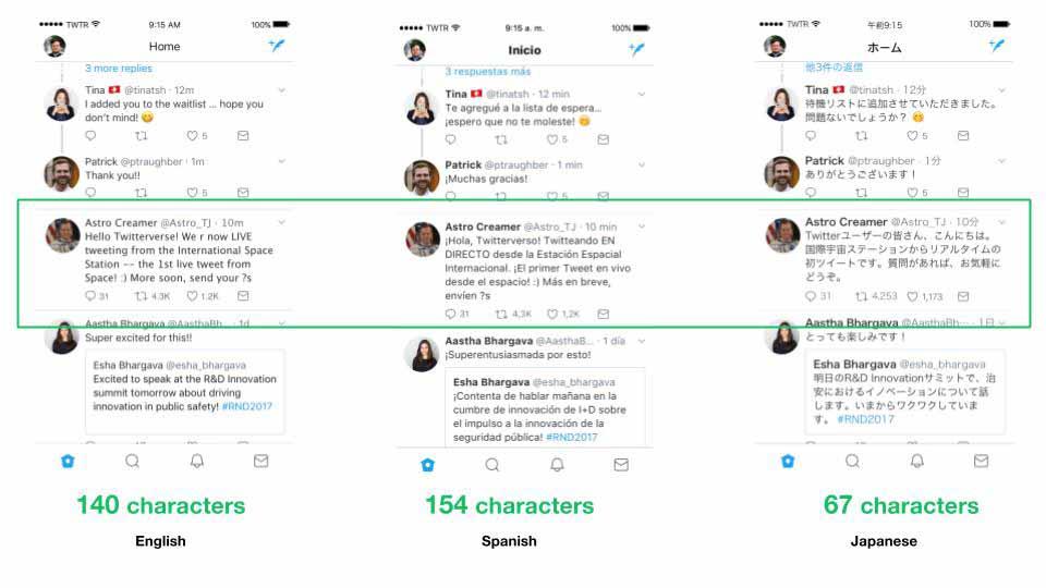 同じツイートをスペイン語、英語、日本語で表したもの
